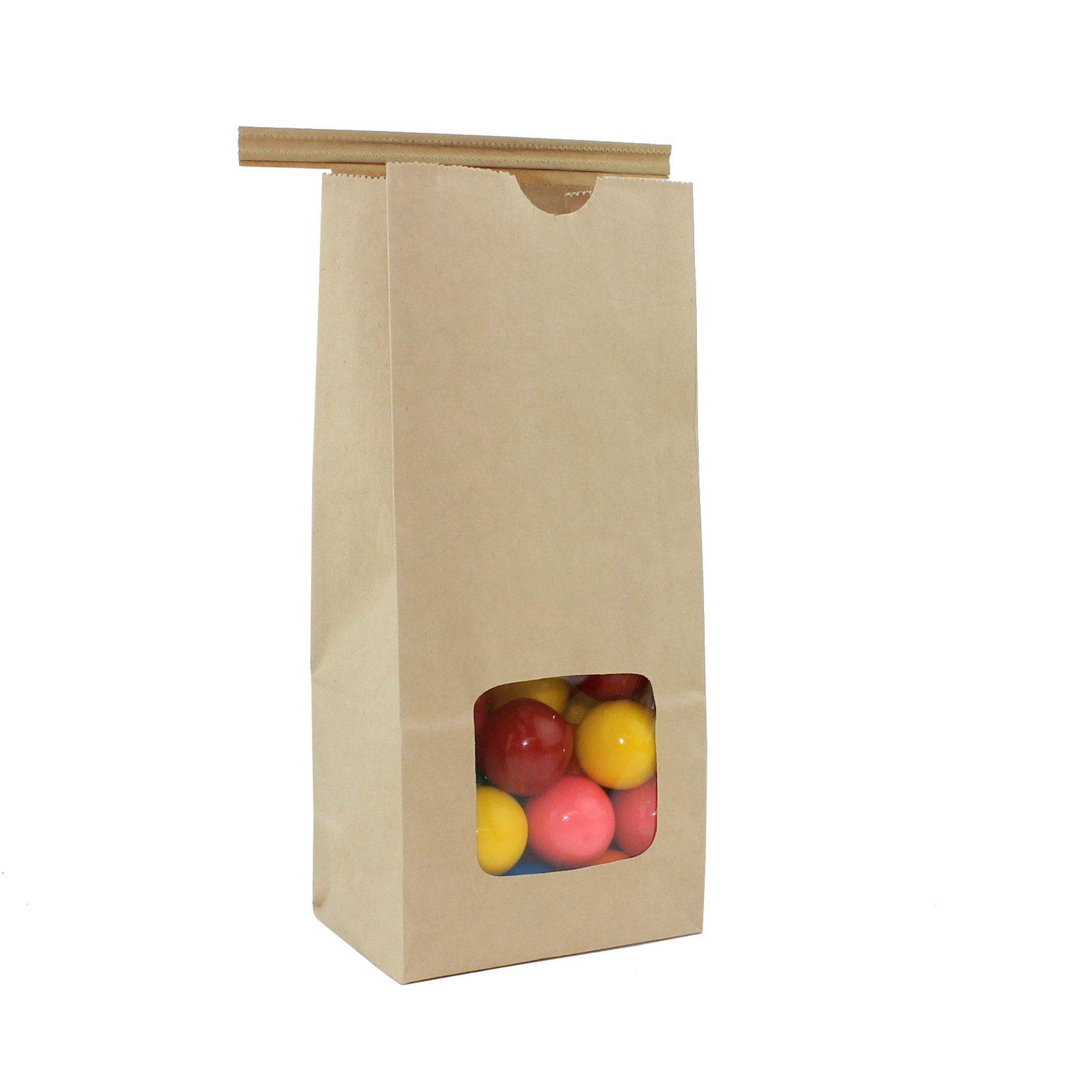 AwePackage 1/2 Lb(8 oz) Kraft Tin Tie Paper Bag with window (100 Pack)