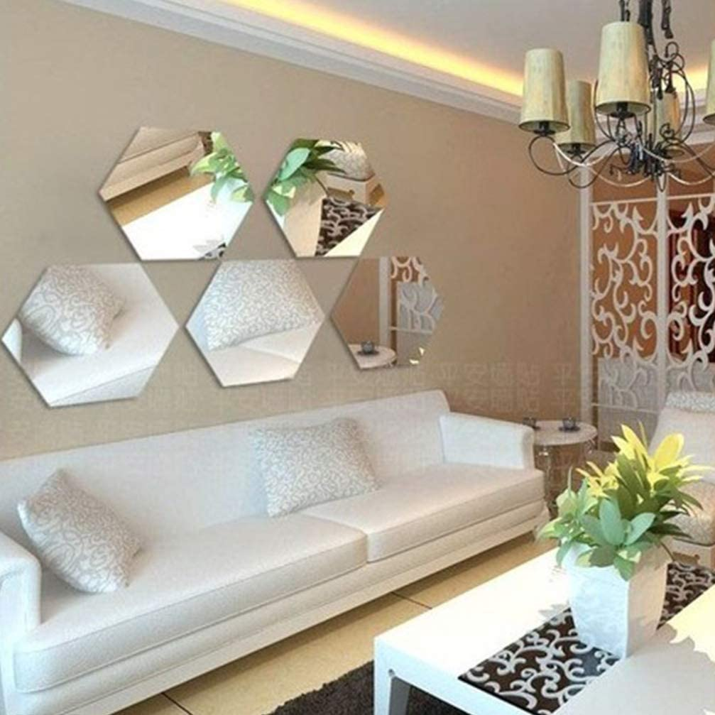 VOSAREA 12Pcs Hexagon Decorative Premium Chic Acrylic Home Decor Wall Stickers Mirror Modern Art Environmental Wall Decors Mural Decoration 8 * 8cm Silver