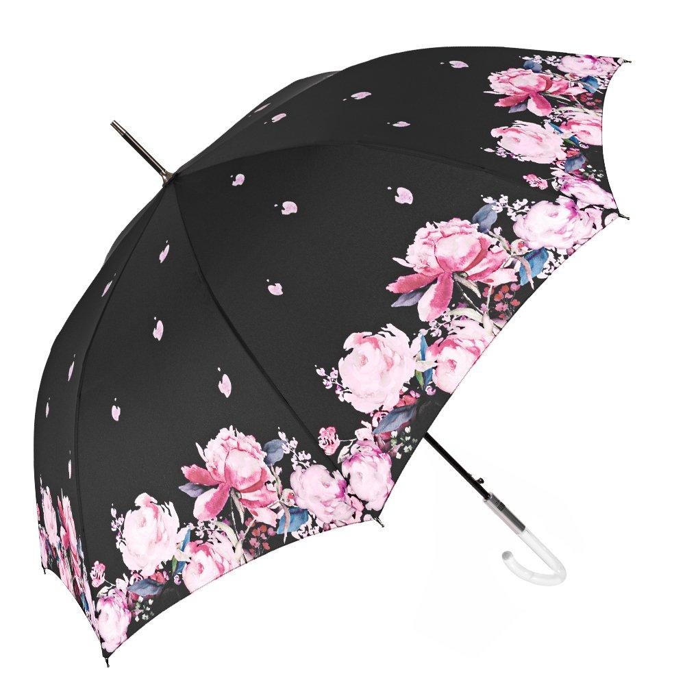 Paraguas Grande y Automático para Mujer - Paraguas Clásico con Dibujo Floral sobre un fondo negro - Elegante Resistente y Antiviento - Diámetro 101 cm - Perletti Chic - Magnolia 21223A