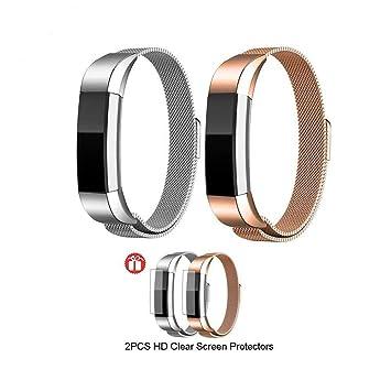 JIMS STORE Bracelet pour Fitbit Alta HR / Fitbit Alta Strap Remplacement en Acier Inoxydable Milanese