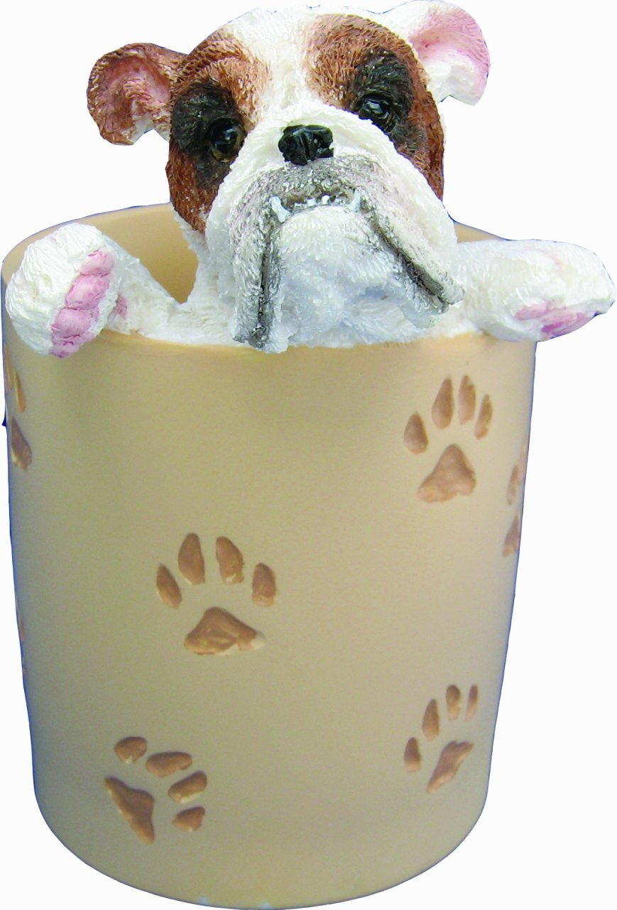 Bulldog Pencil Cup Holder with Realistic Hand Painted Bulldog Face and Paws Hanging Over Cup, Uniquely Designed Bulldog Gifts, A Convenient Organizer for Home or Office, One Of A Kind Pen Holder