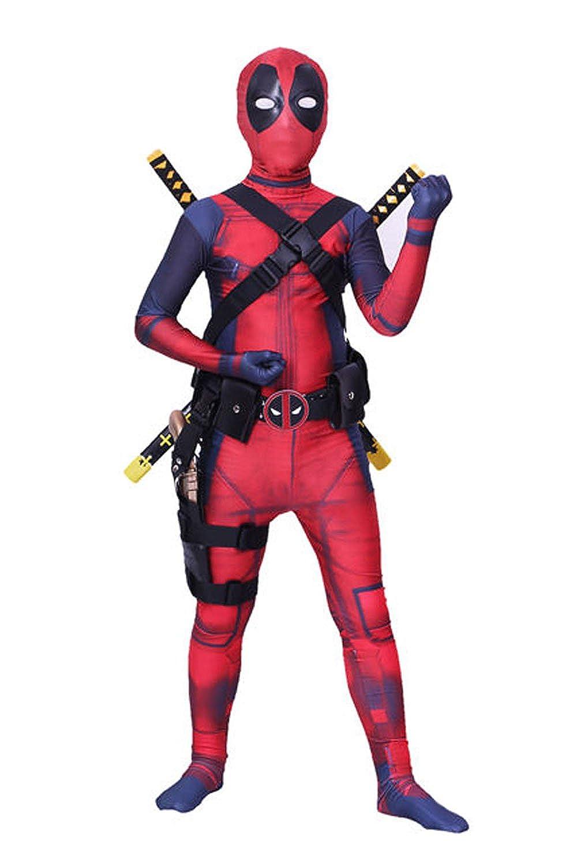 AOVEI 子供用3D全身タイツ 全身コスプレコスチューム ハロウィン ボディスーツ ワンジー スパンデックス製 ジャンプスーツ Kid L(51.2-55.1inch) Bodysuit and Accessories(3-items) B07G7S5SLG
