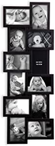 """Jerry & Maggie - Photo Frame 32x12 PVC Picture Frame Selfie Gallery Collage Wall Hanging for 6x4 Photo - 12 Photo Sockets - Wall Mounting Design - Selfie (Black, 32""""x12""""-12units)"""