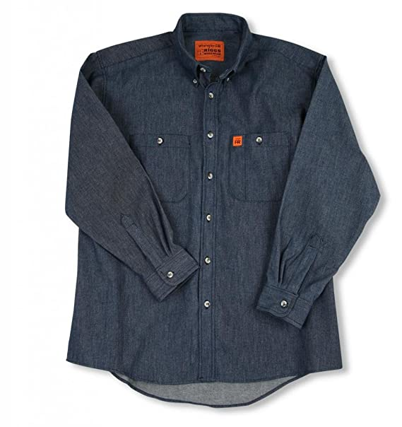 Wrangler Riggs Workwear Men's FR Flame Resistant Long Sleeve Two Pocket  Work Shirt