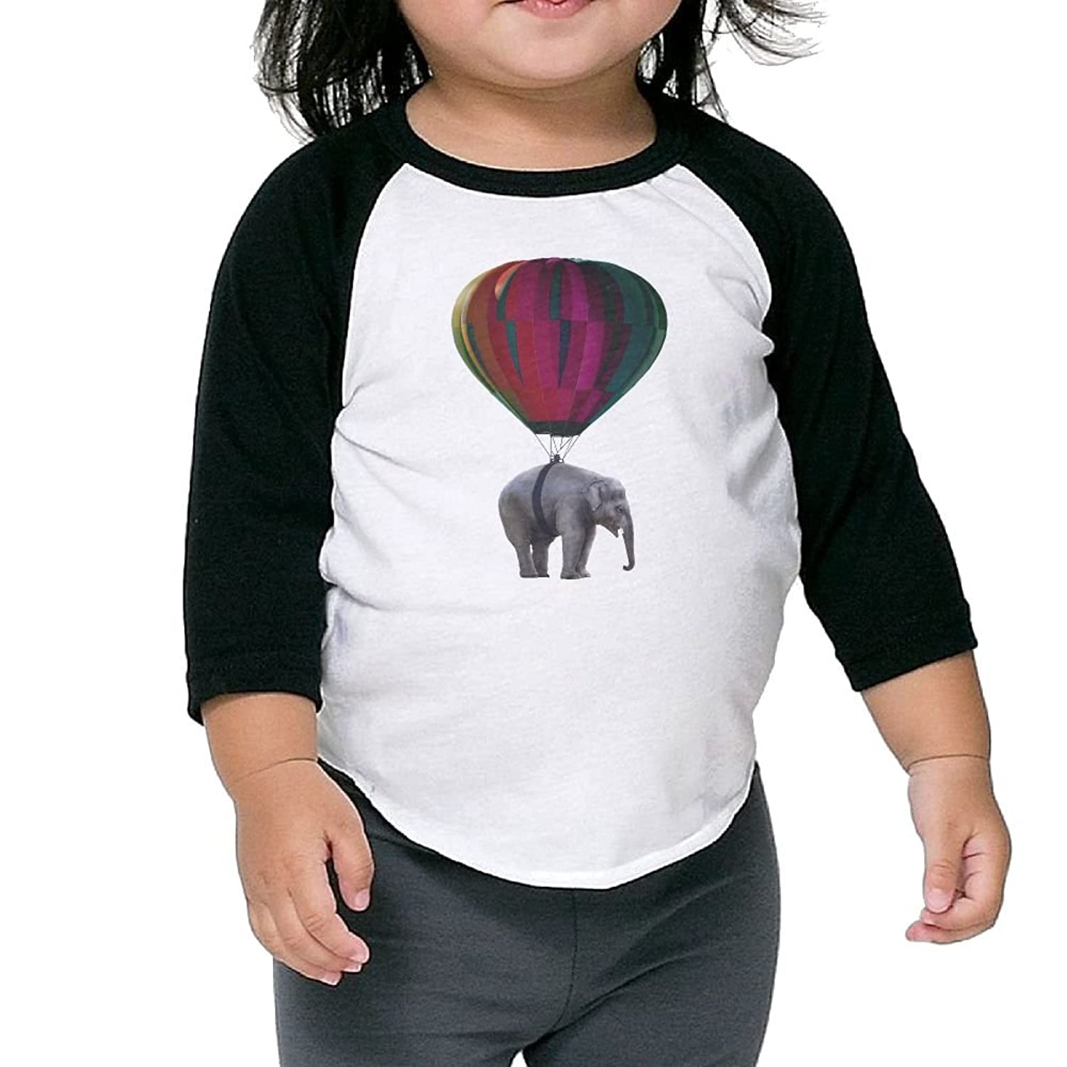 Nice CHENLY Unisex Kid's Sleeves Soft Elephant Hot Ballboon Cotton 3/4 Sleeves T-Shirt For Kids hot sale