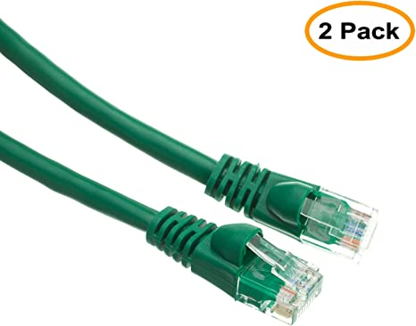 Green 5 Feet Cat5e Cable with UTP Molded Boot 350MHz 5 Pack
