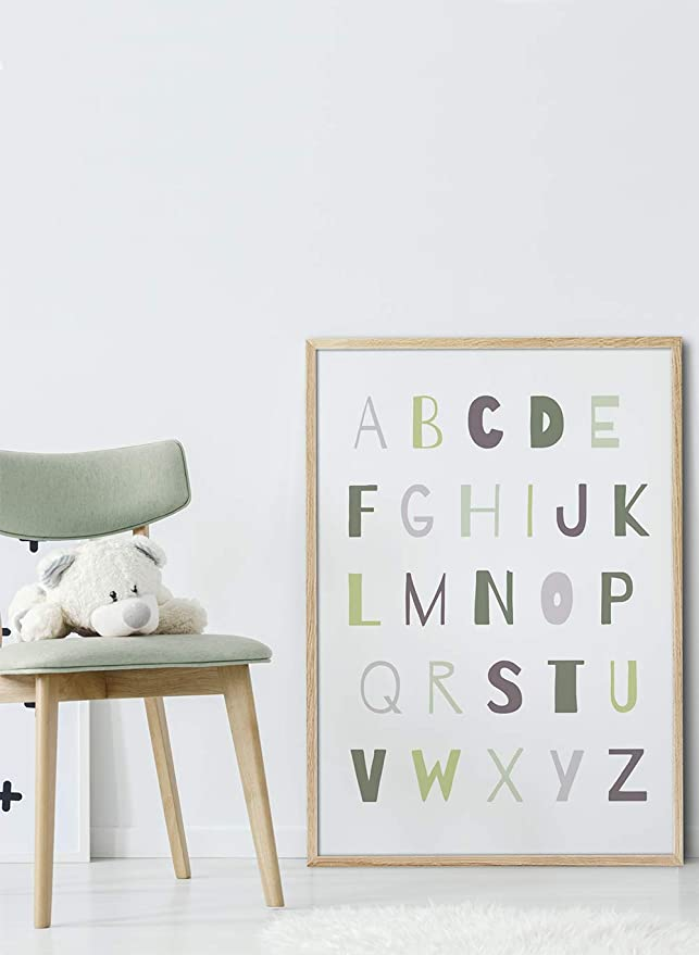MILUKA Children Decorative Art Print for Frame Different Formats CHILDRENS MESSAGES Alphabet Nordic Style Poster 20 x 30 cm ABC Alfe