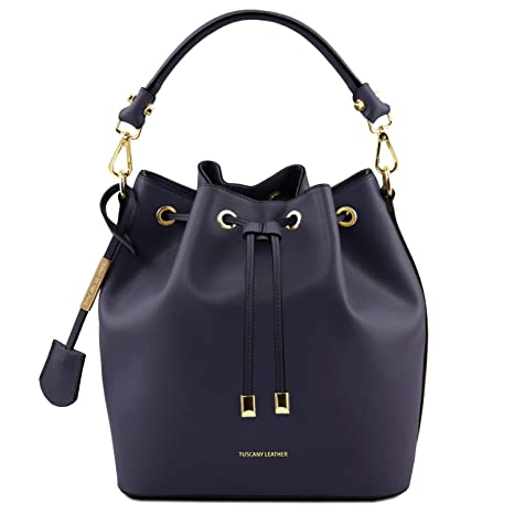 95b707a12f Tuscany Leather Vittoria Borsa secchiello da donna in pelle Ruga - TL141531  (Blu scuro)