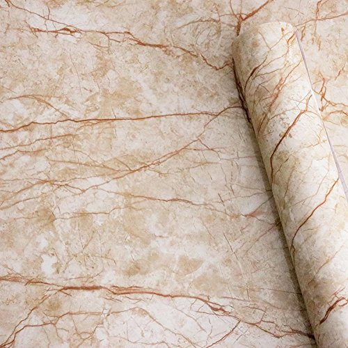 Yancorp Light Brown Tan Marble Contact Paper 16
