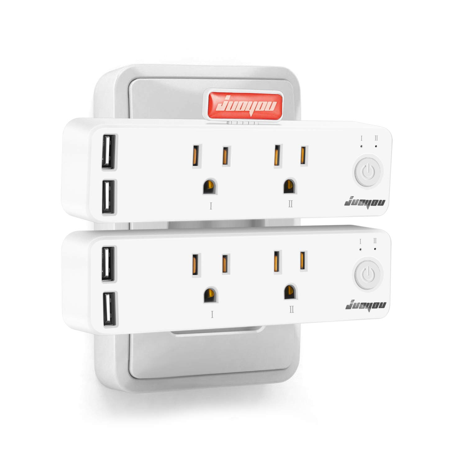 Smart Plug, JUOYOU Smart Outlets That Works with Alexa Google Home, 2 USB Ports and 2 WiFi Outlets, Overload Protection for Household Appliances,Voice & App Control,Timer Function (2 Pack)