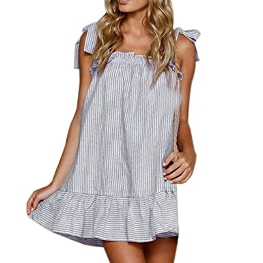 071b0214b1 Damark(TM) Women Dresses Ladies Sleeveless Striped Printed Loose Linen  Sling Tank Vest Sexy Dress Casual Summer Holiday Evening Beach Party Short  Mini ...