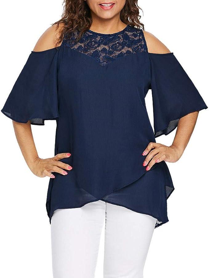 JURTEE Camicetta Donna Elegante Taglie Forti Maniche Corte Sciolto Blusa Cerimonia Tinta Unita Magliette a Pieghe Scollo V Morbido T-Shirt Estive