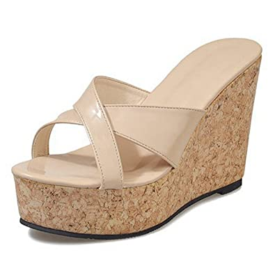 4739b79e3 Women's Cork Platform Sandals Criss Cross Wedges Slide Sandal Thick Bottom  Slip On Shoes Beige