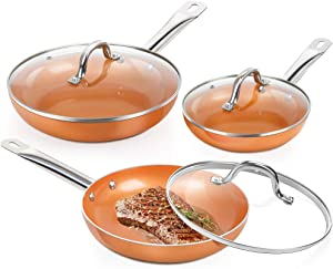 SHINEURI 6 Pieces Nonstick Copper Pan Set - 8/9.5/11 inch, Frying Pan Set with Lid, Fry Pan Set with Induction Base & Stainless Steel Handle, Suitable for Cooking Saute Vegetables, Steaks