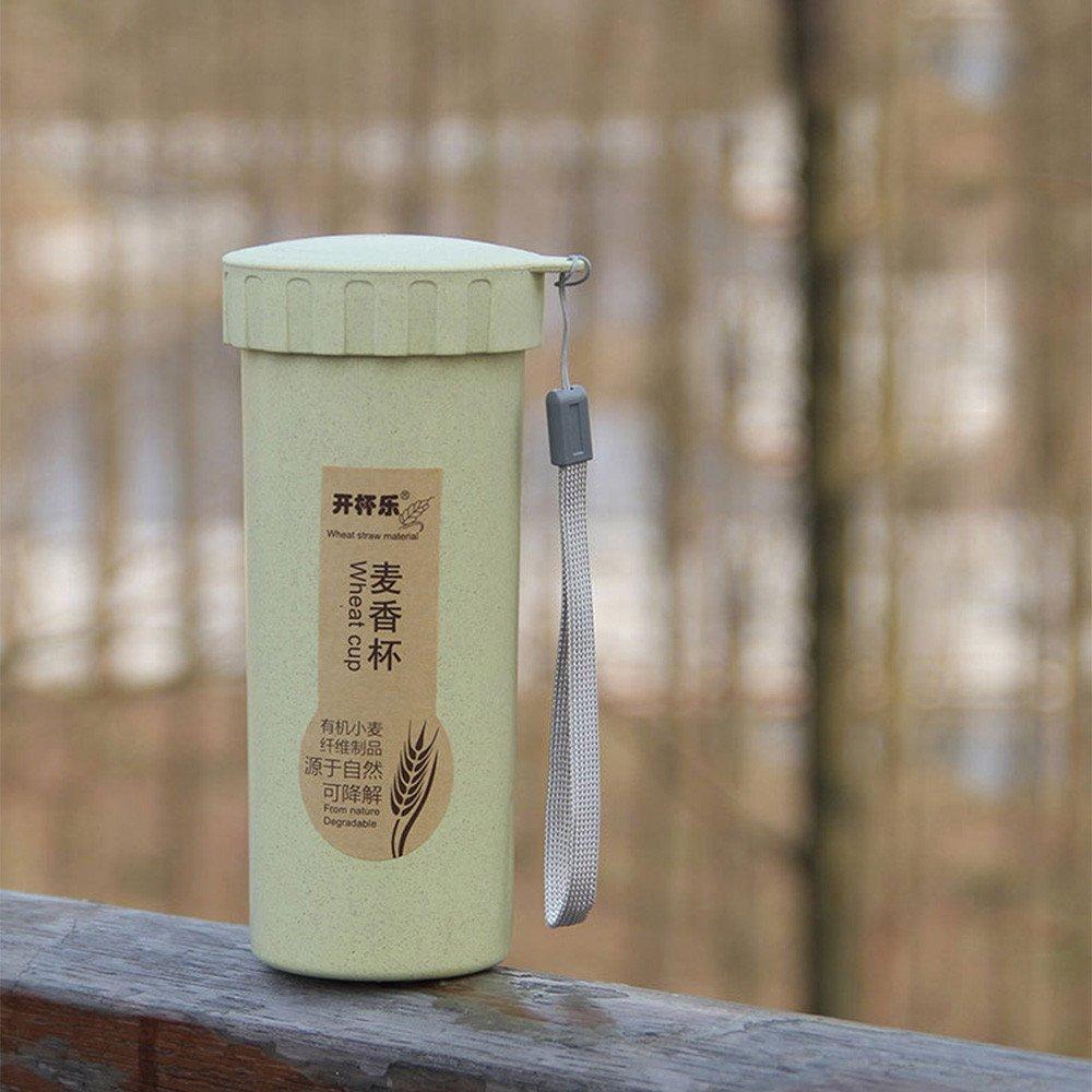 Finebo 450 ML Nature La Paille de bl/é Bouteille deau R/éutilisable Portable Coupe de Boisson avec Lanyard 16.5cm X 6.5cm
