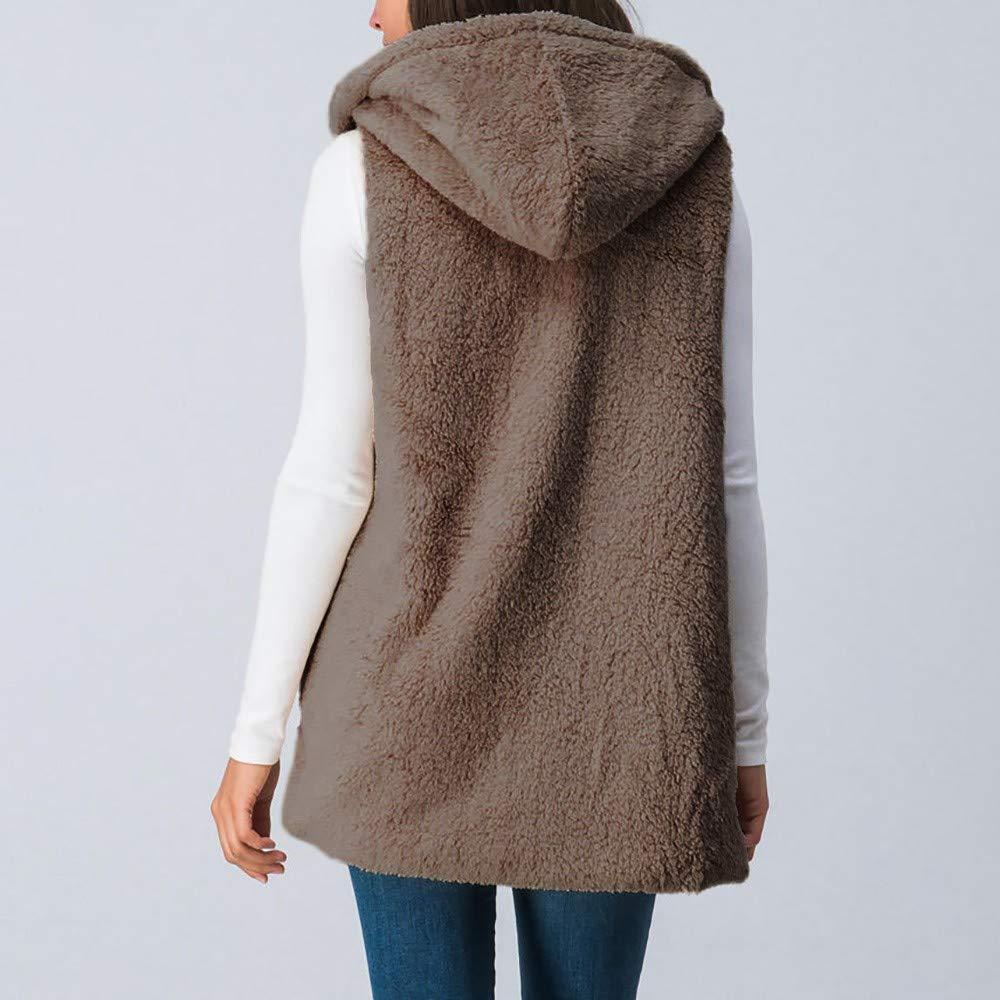 iLUGU Women Lady Faux Cami Fur Solid Vest Top Knit Gloves Hooded Outwear Sleeveless Pockets Warm Waistcoat Brown by iLUGU (Image #2)