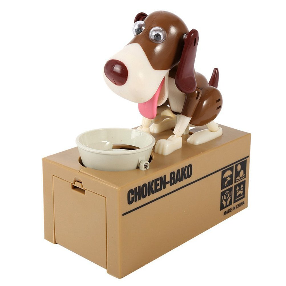 Finders Save Saving Money Box Robotic Puppy Hungry Eating Dog Coin Bank (BROWN WHITE)