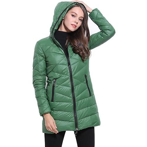 BOMOVO Mujeres Abrigo de Manga Larga con Capucha Coat Jacket(Negro/ blanco/verde/azul/marrón)