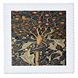 3D Rose Image of William Morris Woodpecker in Gray Orange and Ivory Quilt Square 14 by 14 inch, 14 x 14