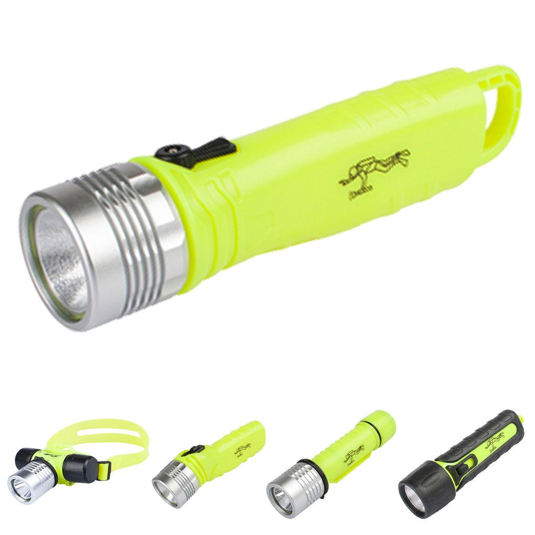 Three trees Underwater Diving Flashlight,3W 110 Lumens Waterproof LED Light,Magnetic Rotany Switch Safety Waterroof Underwater Buckle Flashlight,For Scuba Diving Outdoor Under Water Sports