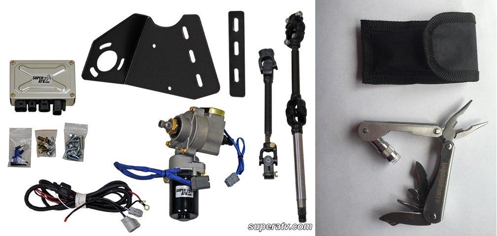 Bundle 2 items: WATERPROOF!! Super ATV Polaris Ranger XP EZ Steer Power Steering Kit and FREE Unhinged ATV Multi-Tool