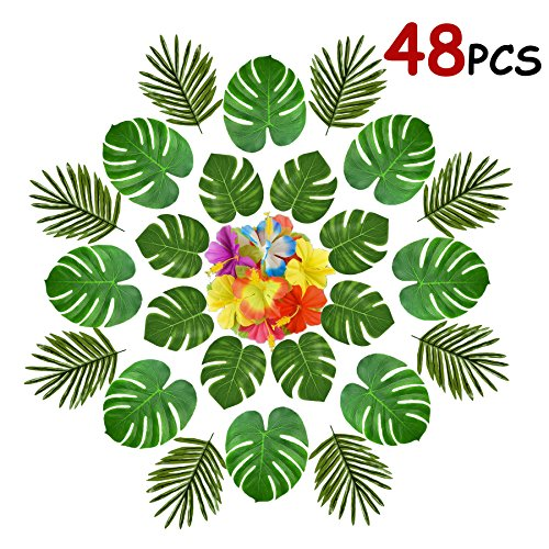 Tropical Aloha Flowers (Famoby 48PCS Tropical Party Decorations Supplies, Tropical Palm Monstera Leaves and Hawaiian Flowers for Hawaiian Aloha Safari Jungle Beach Theme Birthday Party BBQ Party Decoration Supplies)