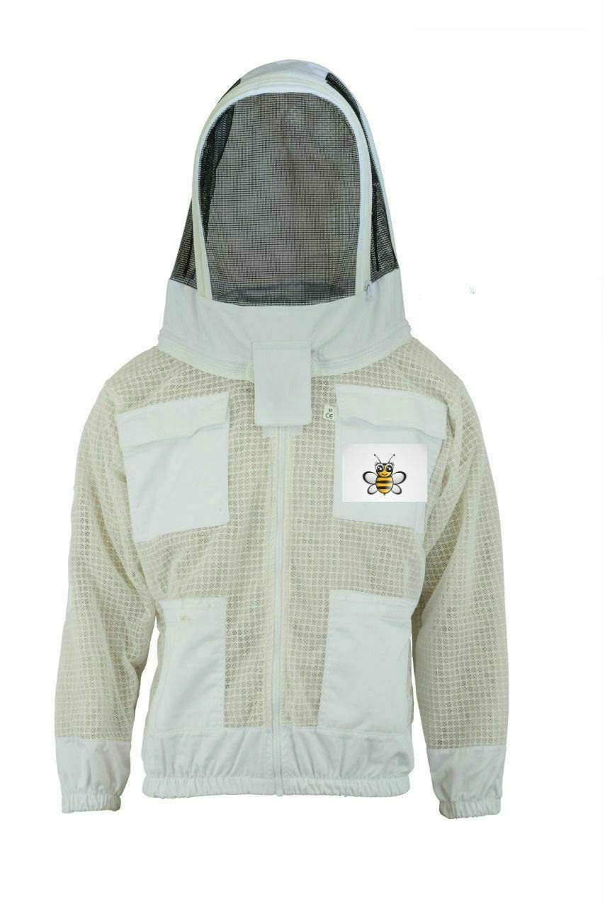 Bee Safety 3 Layer Safety Unisex White Fabric Mesh Beekeeping Jacket Beekeeping Fencing Veil Predective Clothing Beekeeping Clothing Beekeeping Predective Clothing Ventilated Bee-S