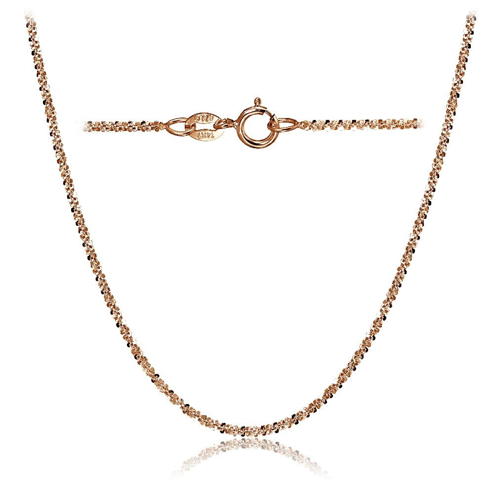 Bria Lou 14k Rose Gold 1.3mm Italian Rock Rope Chain Necklace, 16 Inches