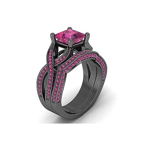 Mejor compromiso anillos de boda en 3,30 ct rosa princesa Cut Crystal montado en
