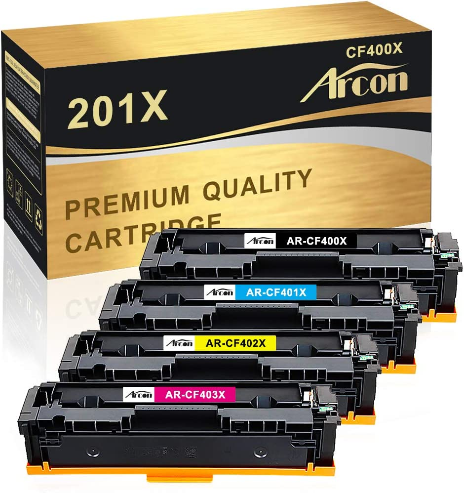 Arcon Compatible Toner Cartridge Replacement for HP 201X 201A CF400X CF401X CF402X CF403X CF400A HP Color Laserjet Pro MFP M277dw HP M252dw M277n M277c6 M252n M277 Toner (Black, Cyan, Magenta, Yellow)