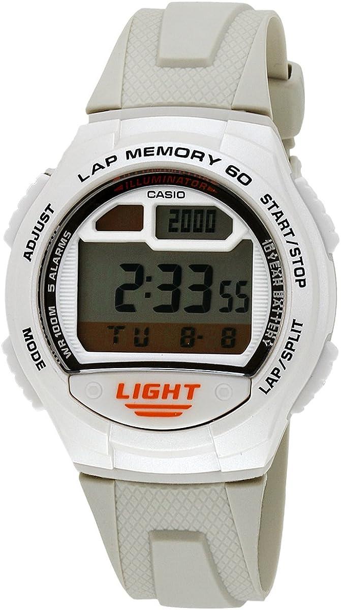 Casio Men s W734-7AV Beige Rubber Quartz Watch with Digital Dial