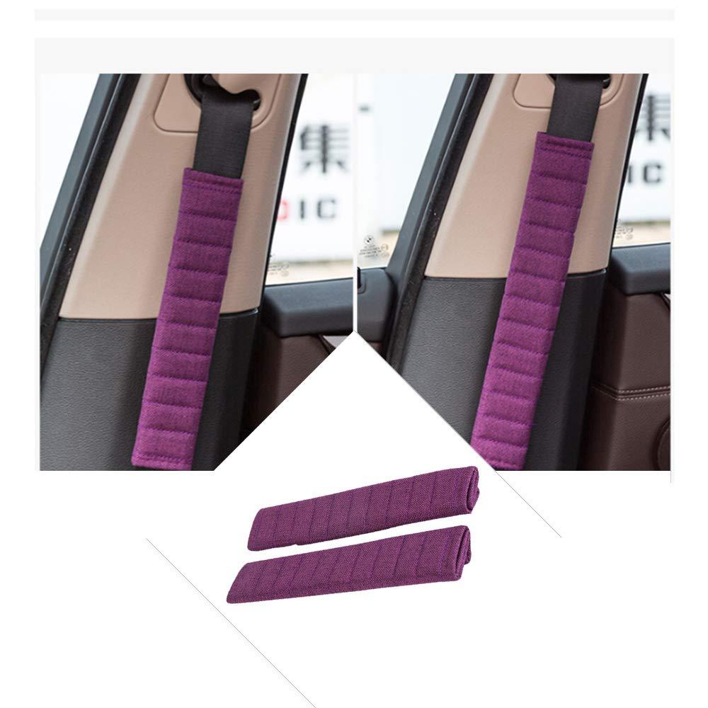 Black Breathable /& Skincare Seatbelt Cushion Fochutech Seatbelt Cover Shoulder Strap Linen Car Seat Shoulder Pads Seatbelt Pillow A Must Have for a More Comfortable Driving 2 Packs