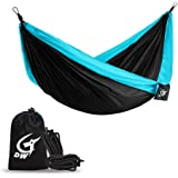 Double Parachute Camping Hammock -Vingi Lightweight & Portable Hammock for Backpacking,Hiking,Travel,Beach,Yard-Tree Straps & Steel Carabiners Included