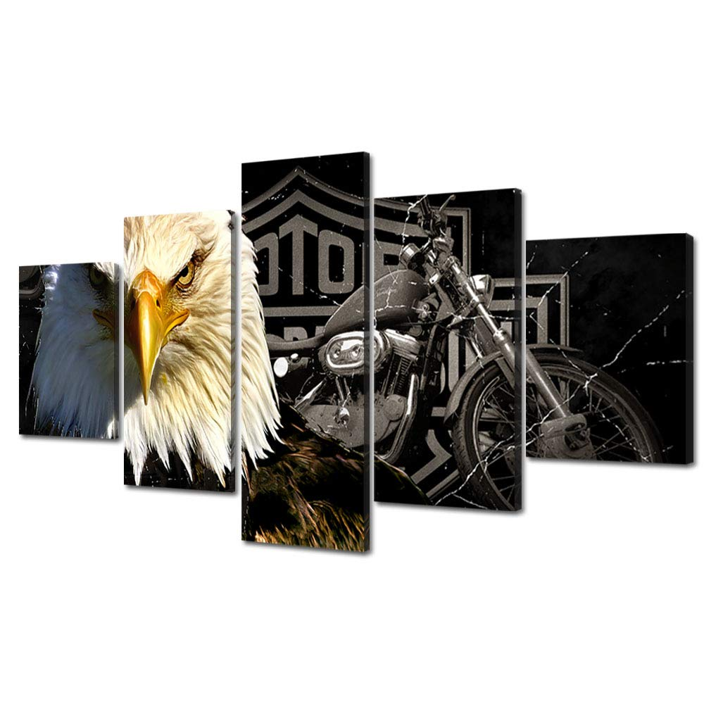 Bald eagles motorcycle wall art paintings 5 panel large vintage american black and white rustic prints posters home decor decal canvas pictures photos for