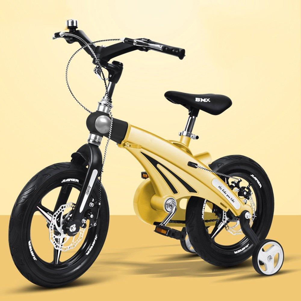 YANGFEI 子ども用自転車 伸縮自在の子供用自転車ベビーカー12/14/16インチ子供用自転車サイクリングマウンテンバイク伸縮式フレーム折りたたみ式ハンドルバーシート/ハンドルの高さ調節可能 212歳 B07DWYGZ2Lイエロー いえろ゜ 12 inch