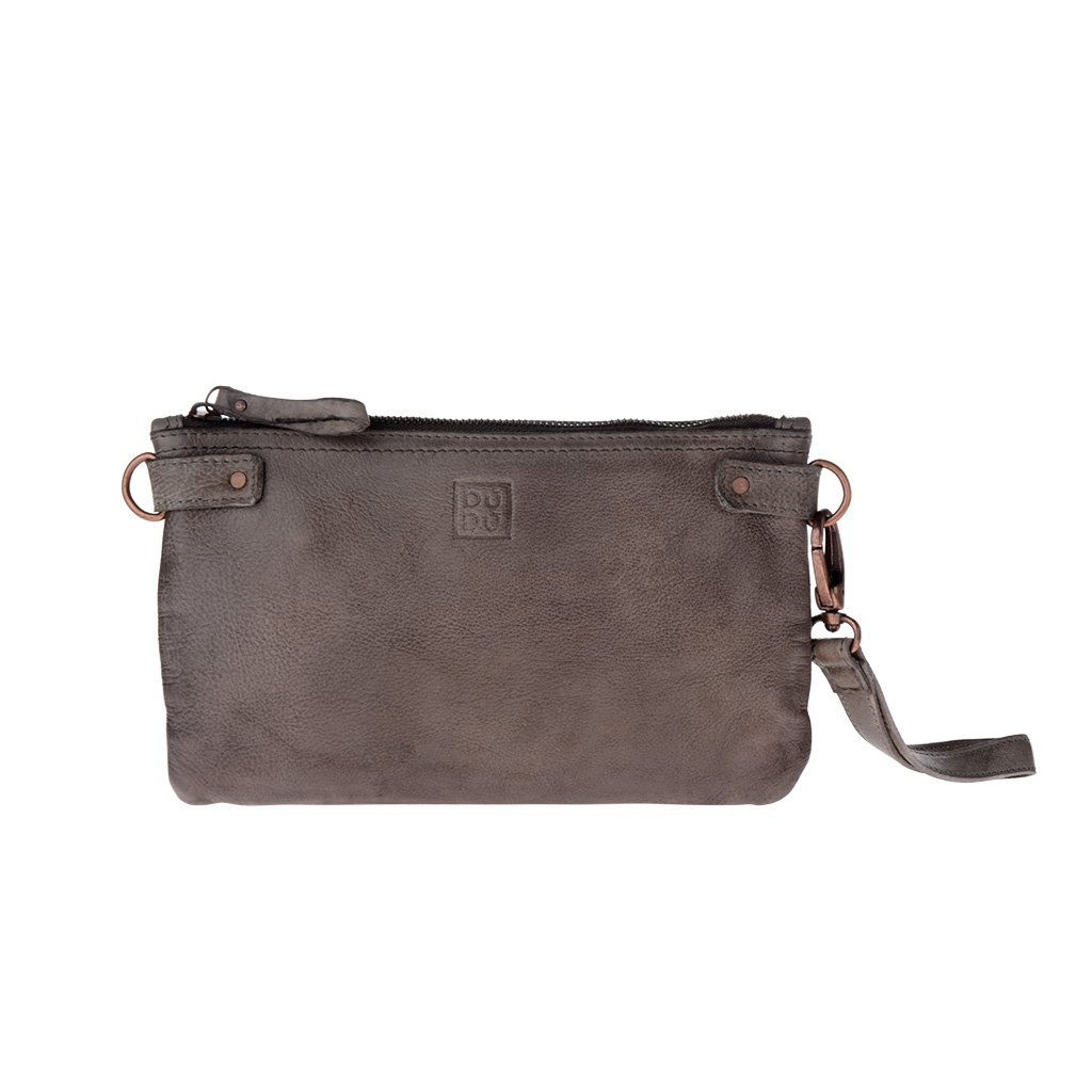 Woman's large clutch bag leather shoulder and wrist strap DUDU - 580-1149 Timeless ~ Pochette - Gray Stone