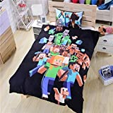 100% Cotton, 3pcs Minecrafts Duvet Cover Set Bedding Set for Children,Green Cotton Health and Comfort, Breathable and non-fading,Extremely Durable- 1 Duvet Cover + 2 Pillow Shams Queen,Black