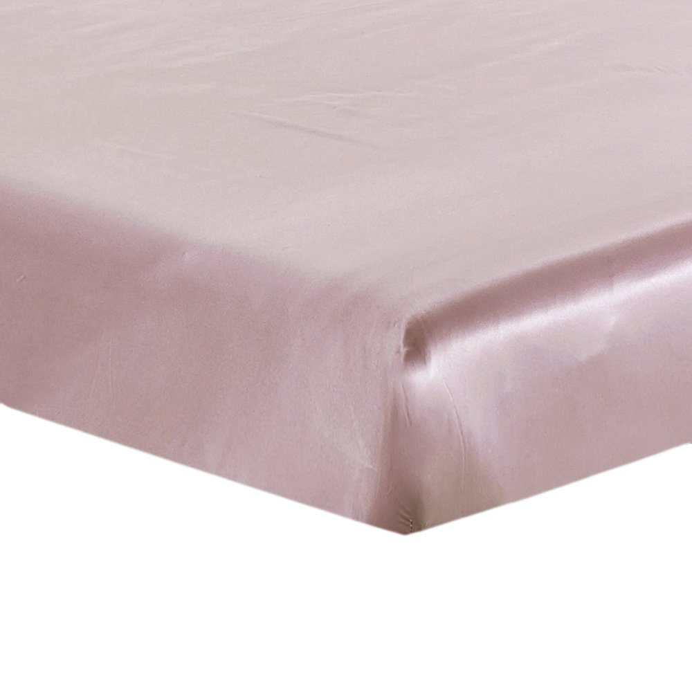 LilySilk Silk Fitted Sheet 19 Momme Seamless Wrinkle Free, Twin, Rosy Pink