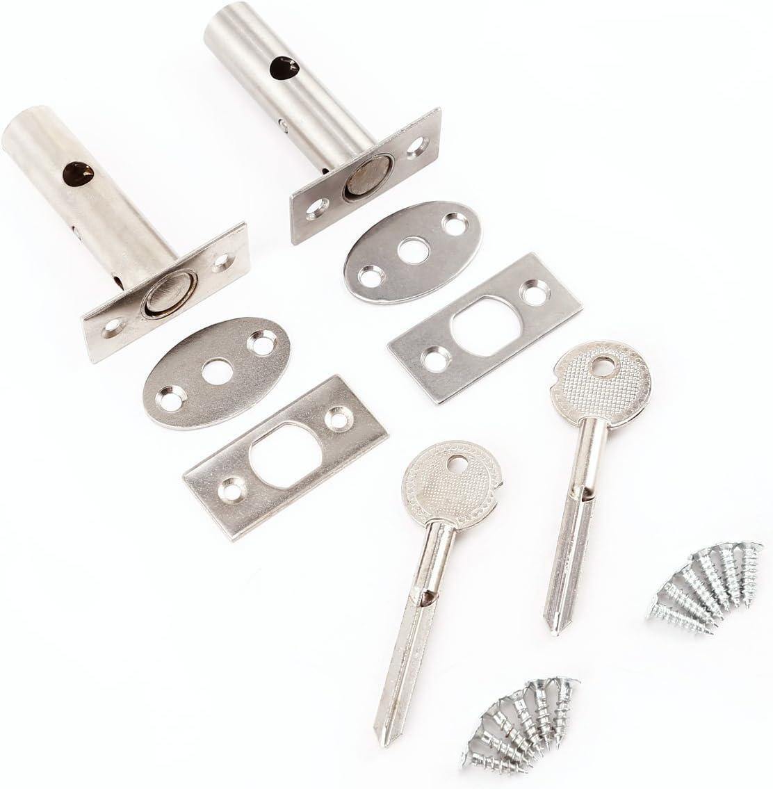 Llaves Security Door Bolts tornillos 2 set Cerradura Picaporte tubular inoxidable para puertas