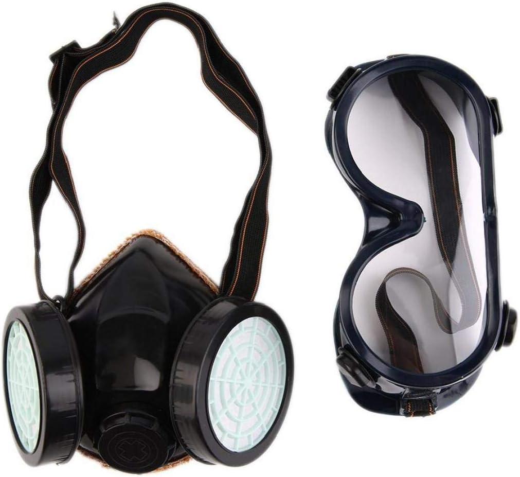 Filtro Doble De La Protección Antigás De Química De Gas Respirador De La Mascarilla Facial Protectora Para Gafas
