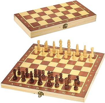G-Tree Juego de ajedrez de Madera - Clásico Juego de Mesa Plegable portátil con Junta Interior de Almacenamiento, Juego de Viaje para Adultos y niños, 29 x 29 cm: Amazon.es: Juguetes y