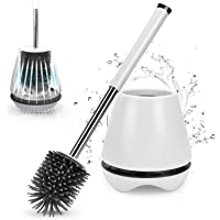 Zirtash White Toilet Brush and Holder Set for Bathroom with Soft Bristle, Antibacterial and Silicon Toilet Brush Head…