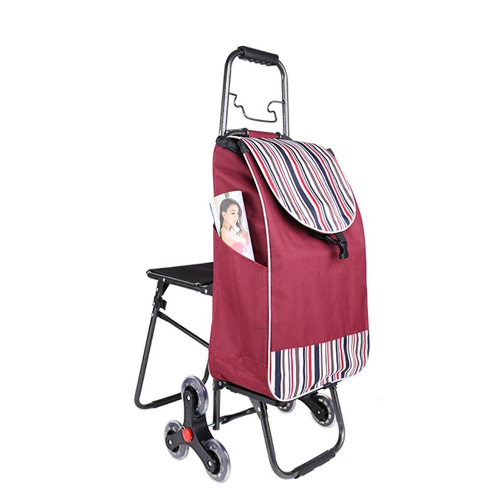 ショッピングカート、階段昇降台、折り畳み式ポータブルカート、高齢者用ショッピングカート (Color : Red, Size : 94 * 32cm) B07FMFPPVR  Red 94*32cm