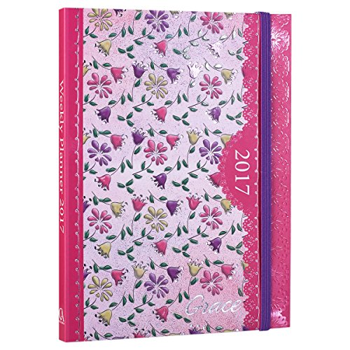 """2017 Pink Floral """"Grace"""" Softcover Inspirational 18 Month Planner - July '16 - Dec. '17"""