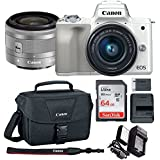 Canon EOS M50 15-45mm f/3.5-6.3 IS STM Mirrorless Digital Camera (White) with Spare Battery and Charger + 64GB Memory Card + Canon Camera Bag