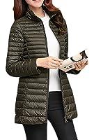 Fulok Womens Zip Up Lightweight Packable Puffer Mid-long Down Coat Outwear