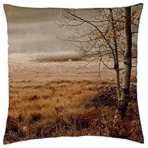 birch tree by a forest in morning fog - Throw Pillow Cover Case (18