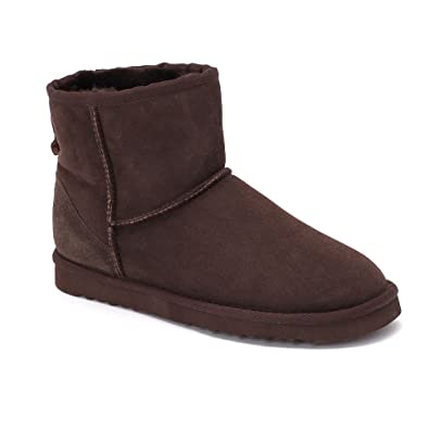 f0a04f84cdc Sheep Touch Women's Classic Mini Twin-Face Sheepskin Boots Chocolate