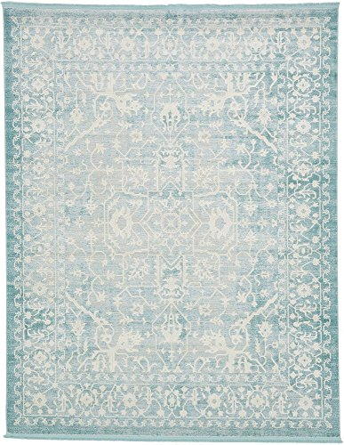Unique Loom New Classical Collection Traditional Distressed Vintage Classic Light Blue Area Rug (8' 0 x 10' 0)