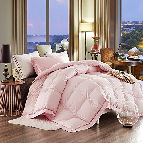 LUOTIANLANG Luxurious thick warm white eiderdown duvet warm in winter by various sizes of duvet core quality bedding,Pink,180 220cm 3 kg
